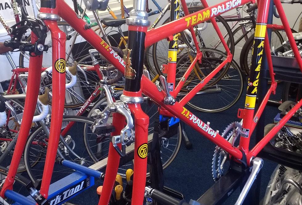 Raleigh Team Edition Bikes 1984 & 2014  (being built in workshop)