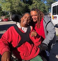 This is a picture of a UCP rider and her driver in St. Louis.
