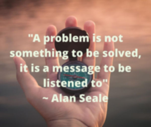 """A problem is not something to besolve, it is a messag to be listened to"". Alan Seale"