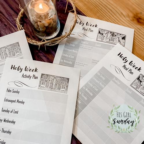 Holy Week Activity & Meal Plan Printables