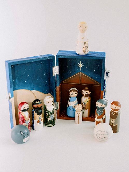 12 Piece Nativity Wooden Box Set