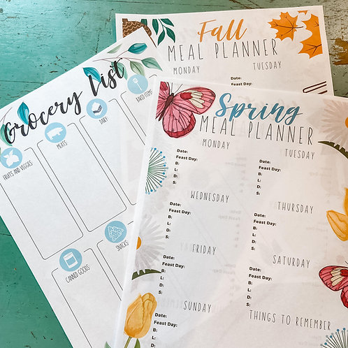 Seasonal Weekly Meal Planner w/ Grocery List
