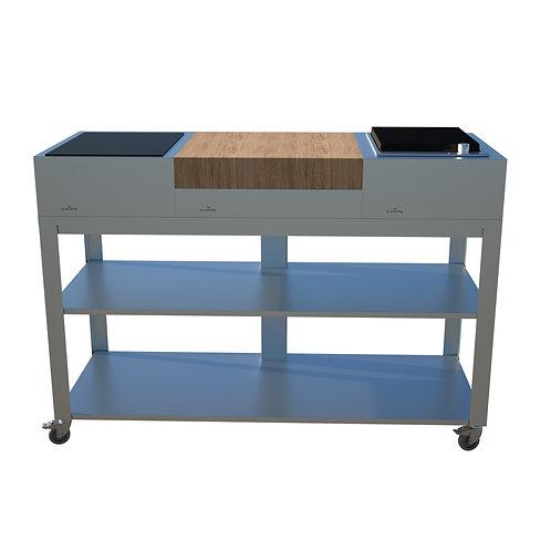 Cuisine mobile 150 cm Table de cuisson et grill à pierre de lave