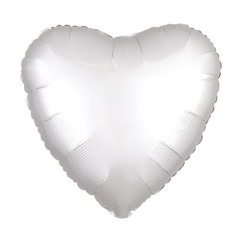 """18"""" Silver Satin Luxe Heart Foil Balloon"""