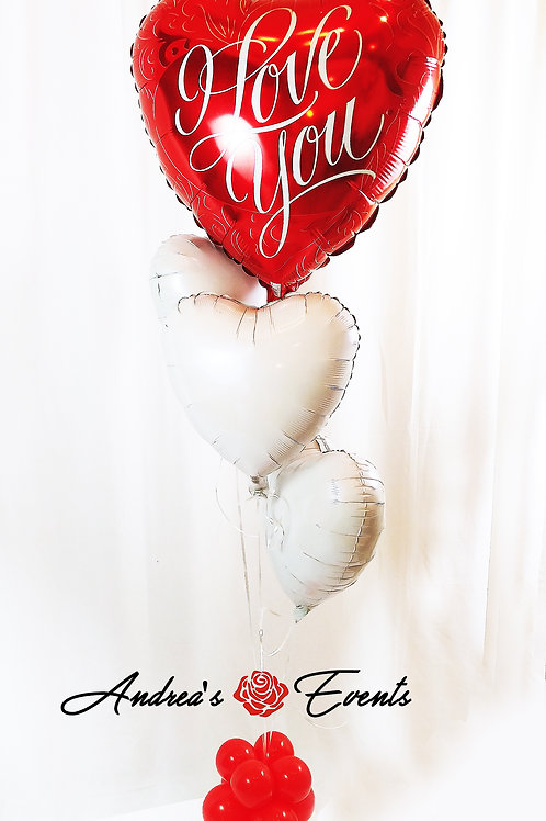 Large I Love You Heart Balloon Bouquet