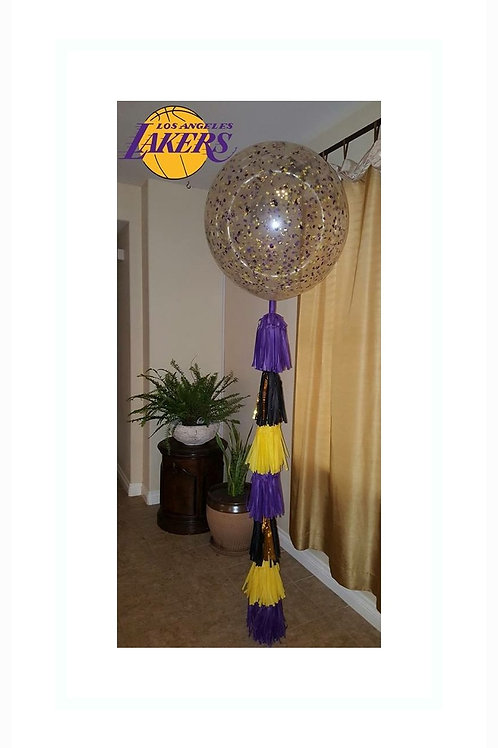 Lakers Colors LARGE Confetti Balloon with tassel