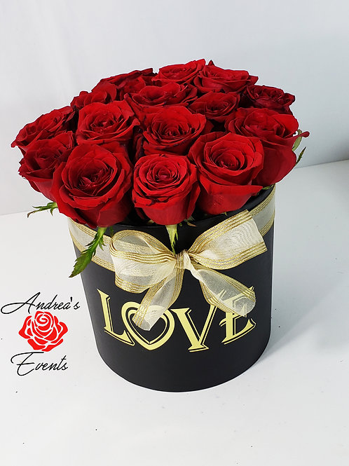 Large Personalized LOVE black round box