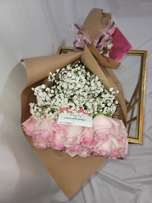 Pink Roses & Baby Breath Kraft Wrapped Bouquet