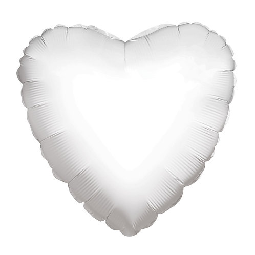 "18"" White Foil Heart Balloon"
