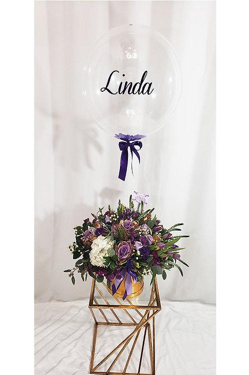 Purple Tones Balloon/Flower Arrangement