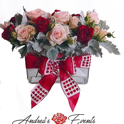 Hearts Ribbon Glass Rectangle Vase Arrangement