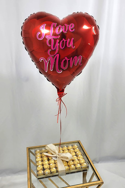 I Love You MOM balloon & box of chocolates