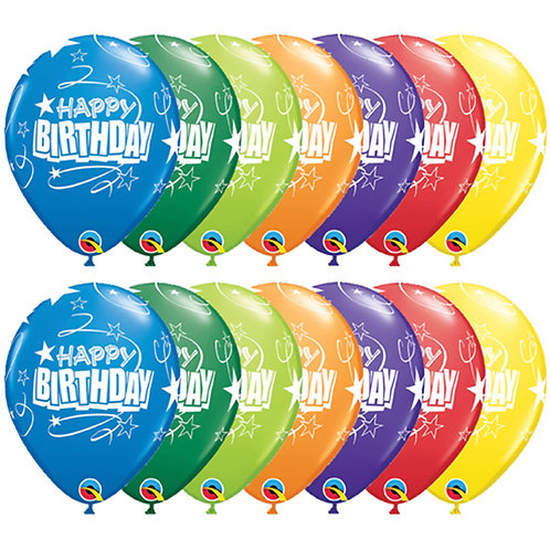 "11"" Birthday Loops & Star Qualatex"