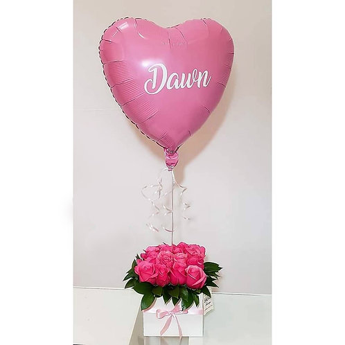 Best Deal Fresh Roses and Personalized Heart Balloon