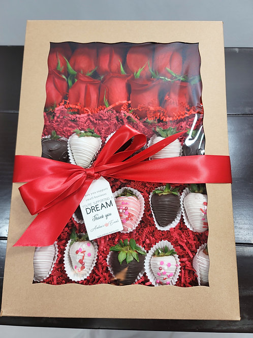 12 Fresh Red Roses & 15 Fresh Chocolate Covered Strawberries Black Bouquet