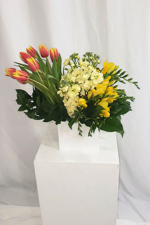 Sunny White Wooden Box Arrangement