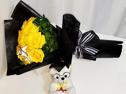Black Flower Wrapping Paper 2 dozen Yellow Roses