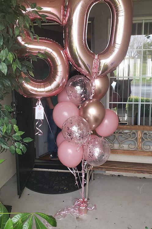 "Number ""16"" balloon bouquet"
