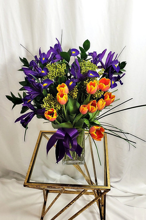 Purple Iris & Orange Tulips