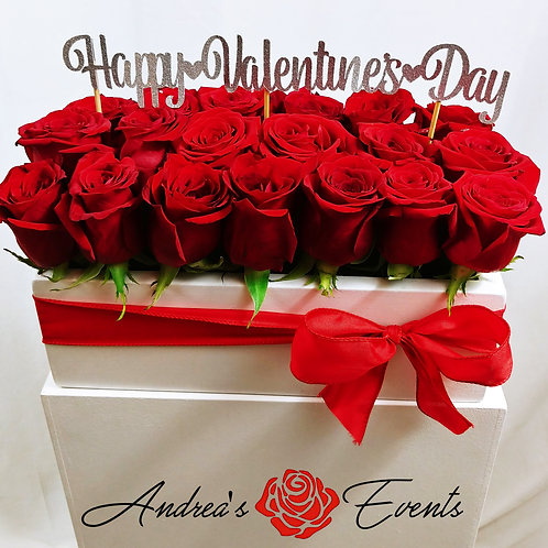 "Medium Red Bow White Wooden Box ""Happy Valentine's Day"""