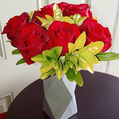Geometric Glitter Card Stock Red Roses Arrangement