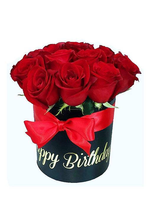 Small Elegant Red Roses Black Round Box