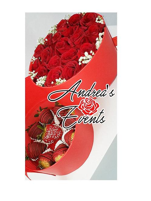 XoXo Fresh Chocolate Covered Strawberries & Fresh Roses