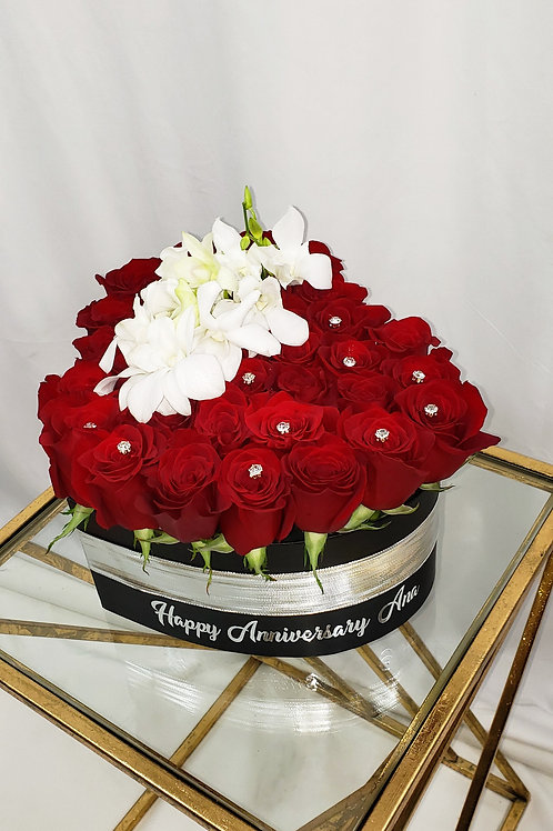 Premium Red Roses Medium Size Black Heart Box with Clear Diamond Crystal Pins