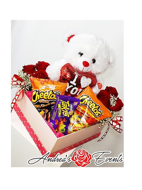 Teddy Bear Pink Gift Box with Fresh Roses