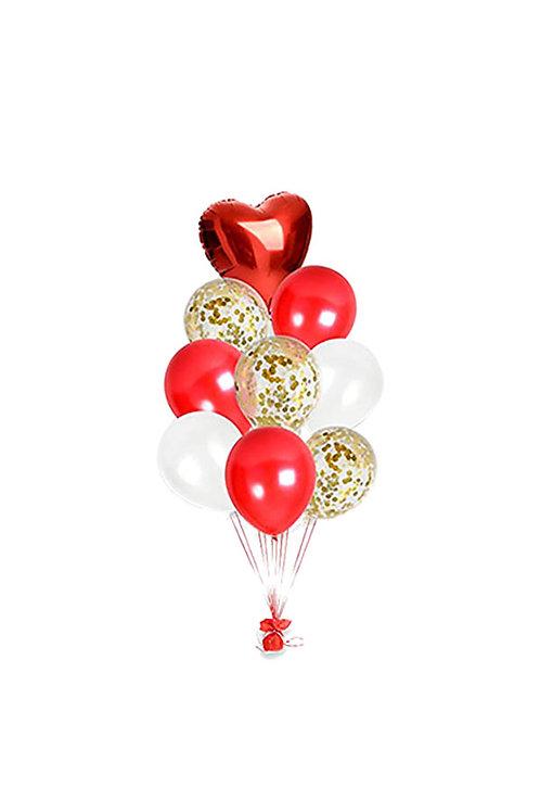 Metallic Heart Confetti Gold Red White