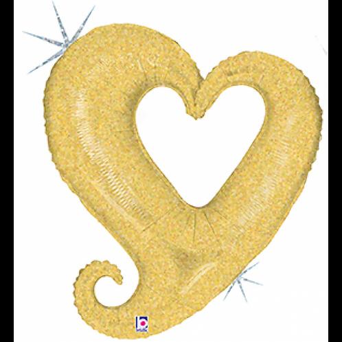 37″ Chain Of Hearts Gold Open Heart Balloon