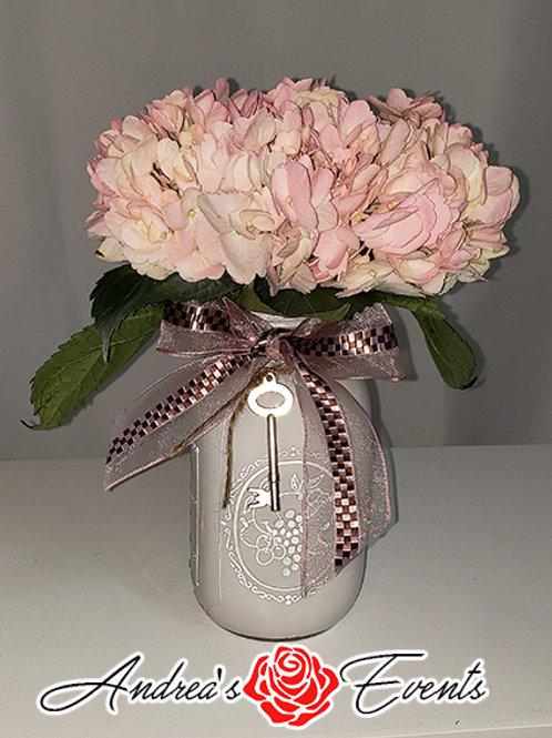 Pink Hydrangea Mason Jar