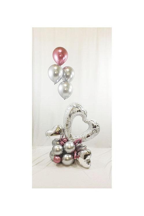 "42"" Hearts & Filigree Pearl White Open Heart Balloon Arrangement"