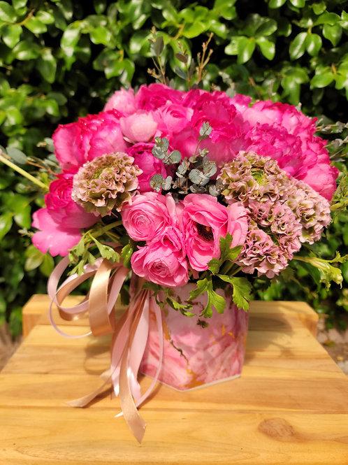 Fresh Premium Pink Peonies Marble Ceramic Vase Arrangement