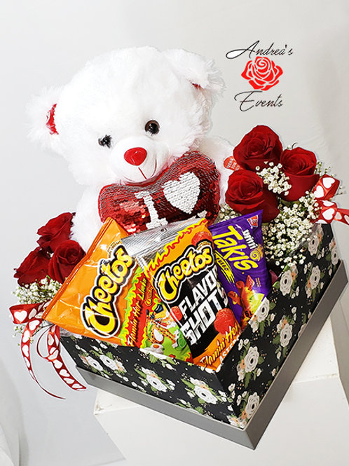 Teddy Bear Black Floral Gift Box with Fresh Roses