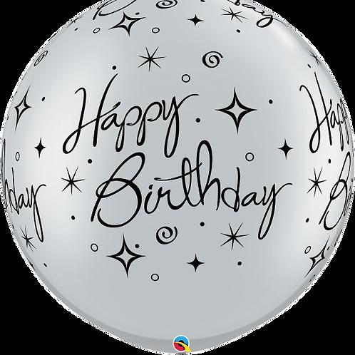 3 FT Round Birthday Sparkles & Swirls