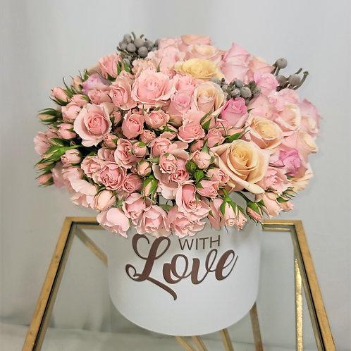 With Love Medium Size Rose Gold Flower Arrangement