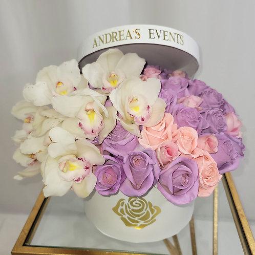"""""""Eternal Love"""" White/Purple Fresh Orchids Fresh Roses"""