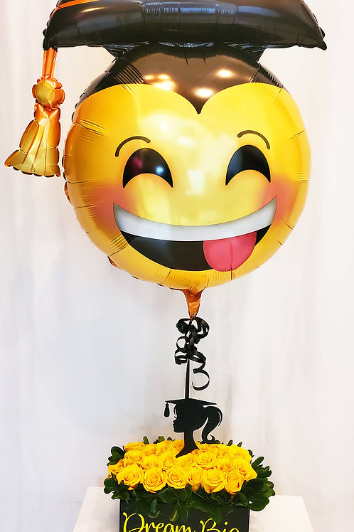 "Grad Smile Face Super Shape 26"" Foil Balloon with Rose Arrangement"