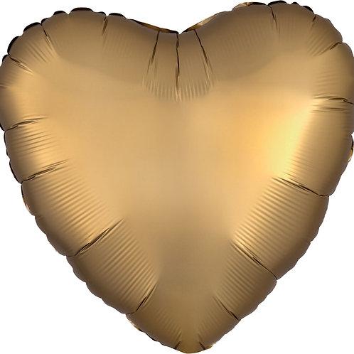 """18"""" Satin Luxe Gold Sateen Heart balloon"""
