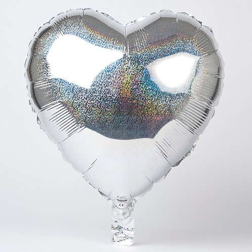 "18"" Silver Holographic Heart Balloon"