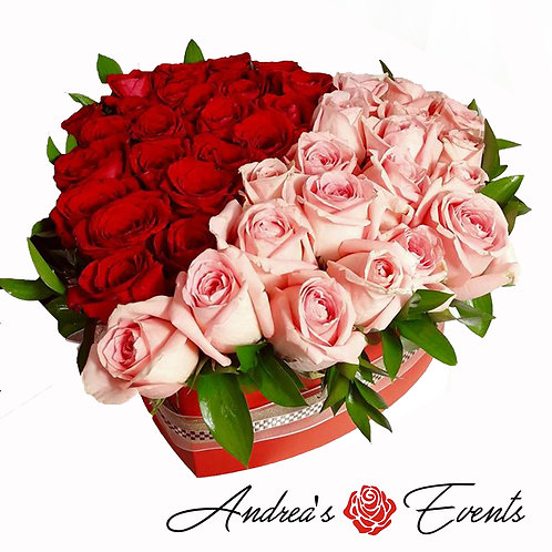 Large Red Heart Box (Half Red Half Pink Roses)