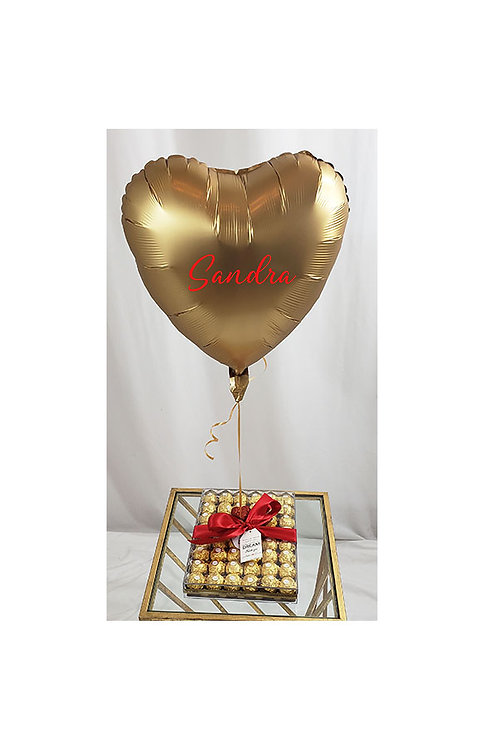 Box of Chocolates with Custom Heart Balloon