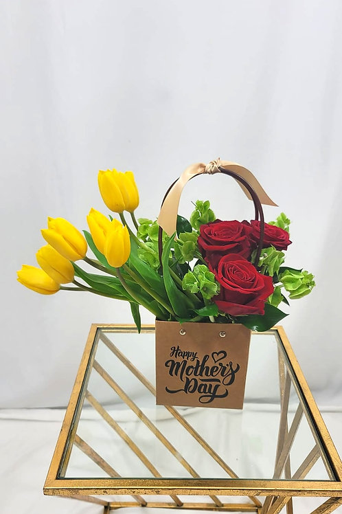 Tulips & Roses Mother's Day brown bag