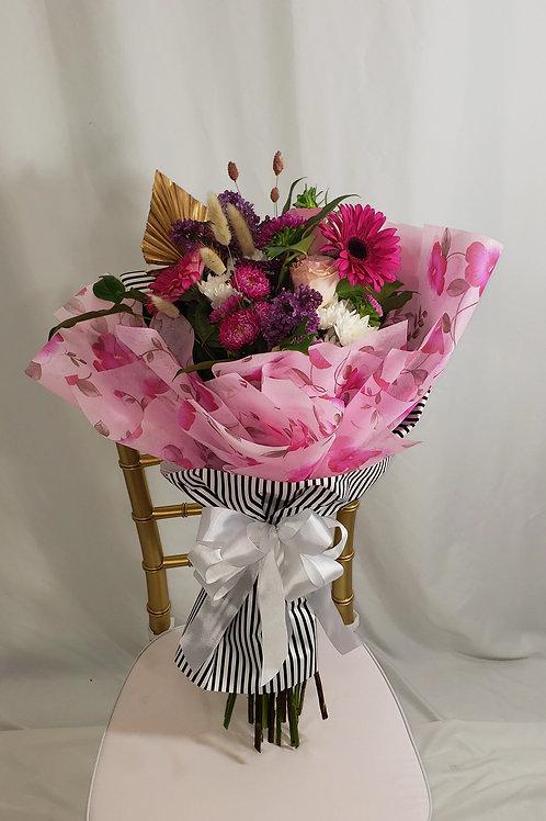 Black Stripes Pink Hand Crafter Bouquet
