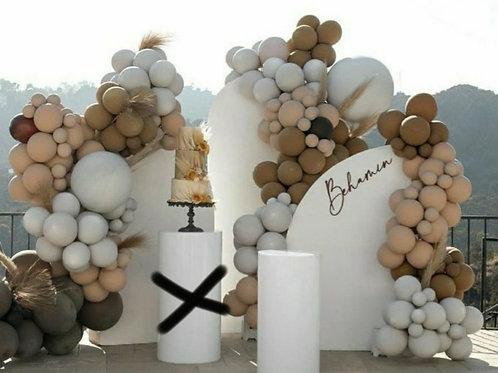 Green Gold White balloons set up 8ft 6ft 4ft backdrops