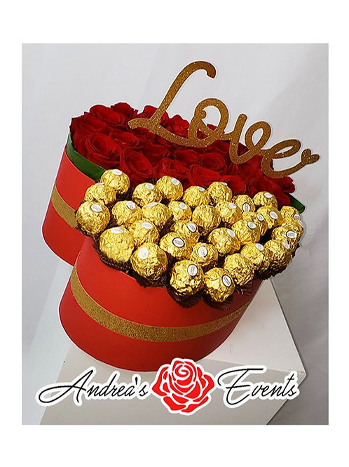Large Red Heart Shaped Box Fresh Roses & Ferrero Rocher Chocolates