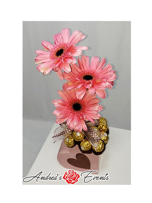Heart Shaped Ceramic Vase Fresh Gerbera Daisies & Ferrero Rocher Chocolates