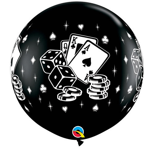 3 FT Round Casino Dice & Cards Qualatex
