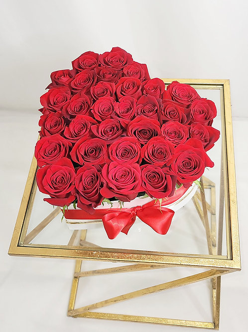 """A Touch of Romance"" White/Gold Heart Fresh Premium Red Roses"
